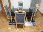 Glas Esstisch mit 4 Stühle