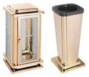 Grabschmuck-Set goldfarben Grablaterne Grabvase Grablampe