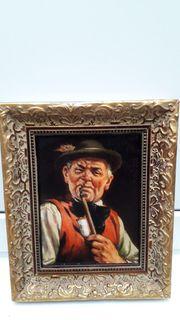 Bild Gemälde Mann mit Pfeife
