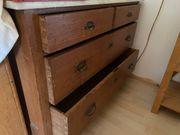 Antiker Schubladen-Wäscheschrank Massivholz mit Marmorplatte