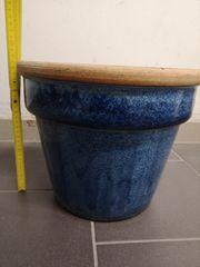 Keramiktopf für Aussen blau meliert