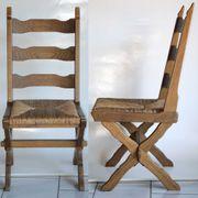 2 x Eichen-Stühle schwer rustikal