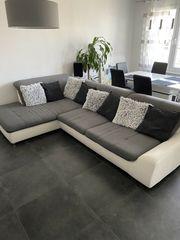Ecksofa Couch grauer Stoff weißes