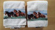 2 Handtücher mit Pferdebordüre 45-