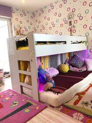 Hoch- Funktionsbett Relita 90X200x117 weiss-rosa