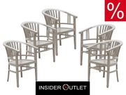 5 Holzstühle Grau Massiv Armlehn-Stuhl