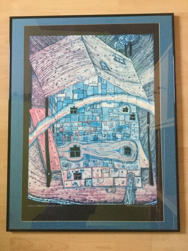 Hundertwasser Kunstdruck Regenbogenhaus schw Rahmen