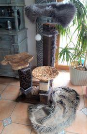 Luxus Kratzbaum Burned Wood Massivholz