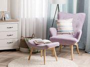 Sessel Samtstoff rosa plus Hocker