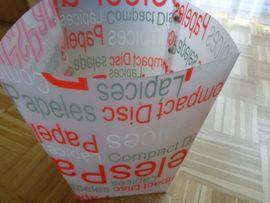 Büromaterial - Papiereimer Papierkorb weiß rot Höhe