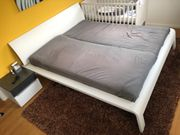 Doppelbett Bettgestell Bettrahmen weiß