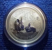 Silbermünze Lunar 2 Hase 2