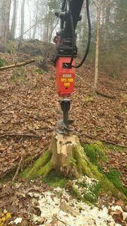 Baumstumpffräse Wurzelstockfräse Erdbohrer Kegelspalter Bagger