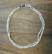 Süßwasser Perlenkette Verschluss Silber 835