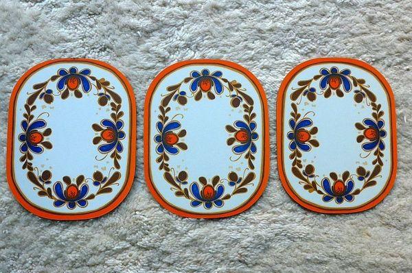 3 Frühstücksbrettchen Tablett Prilblumen 70er