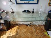 Schreibtisch Glas Metall