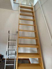 Holztreppe Kernbuche versiegelt Geschosshöhe 3