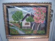 Stickbild Handarbeit Landschaft