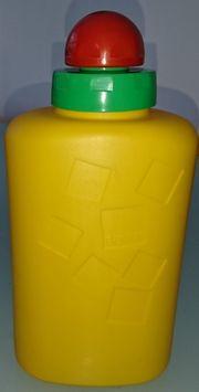 Trinkflasche in gelb mit buntem