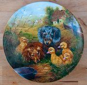Porzellan-Wandteller mit Tiermotiven u Zertifikat
