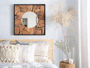 Wandspiegel Teakholz hellbraun quadratisch 70