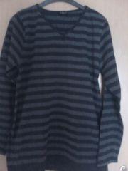 Shirt - langarm - schwarz grau gestreift -