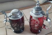 Verkaufe rote Bierglas Krüge