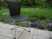 Rundrohr-Stuhl Freischwinger dunkelbraunes Geflecht
