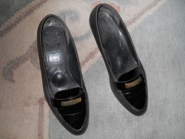 silber - schwarze Slipper Pumps Gr