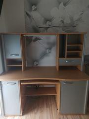 Schreibtisch Holz -und silberfarben