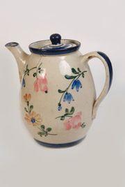 Antike Kaffeekanne-Porzellankanne-Keramikkanne handbemalt Blumen shabby