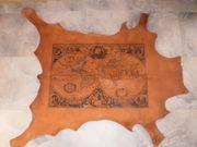 Vintage Weltkarte antik auf Leder
