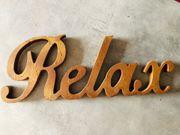 Dekoschrift aus Holz Relax