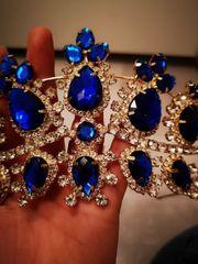 Diadem Krone blau Strass
