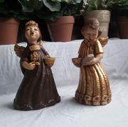 2 Engel aus Ton als Kerzenhalter