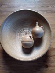 Keramikwandteller mit 2 Öllämpchen