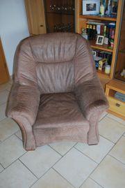Hochwertige Leder-Couch Dreiteiler