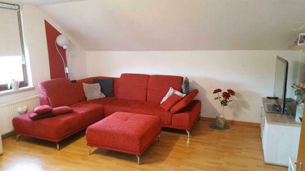 Große Sitzgarnitur Sofa roter Webstoff