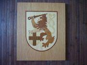 Holzbild Wappen Löwe Holztafel Bild