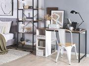 Schreibtisch weiß dunkler Holzfarbton 120