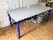 Schreibtisch 160x80cm grau blau