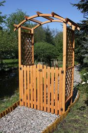 Gartentor Gartentür Holz impregniert Rosenbogen