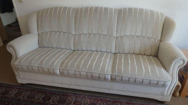 Wohnzimmer Polstergarnitur Beige Federkern 1 Sofa 2 Sessel 1
