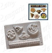 Gießform 5 Stuck-Ornamente Keramisches Gießpulver