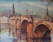 großes Aquarell Heidelberg mit Neckarbrücke