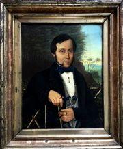 Wertvolles BIEDERMEIER-Gemälde um 1840 Reisender