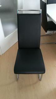6 Esszimmerstühle in Kunstleder schwarz