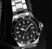 Armbanduhr-Datum-Edelstahl-Quartz-Analog -NEU- Umrandung Schwarz