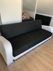 Couch Schlafsofa schwarz-weiß