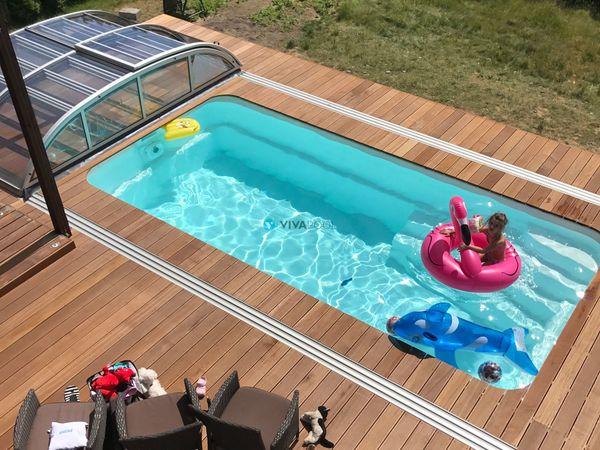 gfk pool rechteckig schwimmbecken mit zubeh r set filteranlage beleuchtung fertigbecken in. Black Bedroom Furniture Sets. Home Design Ideas